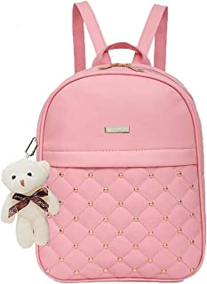 TYPIFY® PU Leather Teddy Keychain Stylish and Trending High Quality Women Backpack for College Office Bag Girls Handbag Purse