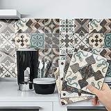Papel Pintado Pared Adhesivo con la Imagen Mosaico Retro Colores, Pegatina de PVC para Decorar Azulejos Muebles Cocina Baño Diseño Retro, a Prueba de Aceite de Agua de Moho