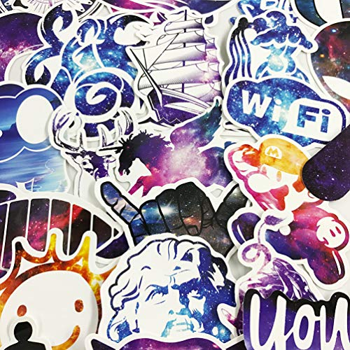 Galaxy Laptop Stickers 100 Pcs Pack Cool Vinyl Variety Waterproof Computer Skateboard Pad Car Snowboard Bicycle Luggage Guitar Travel Case Decal