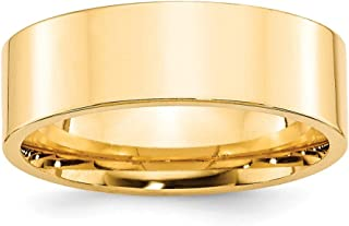 14k Yellow Gold 7mm Standard Flat Comfort Fit Wedding Ring Band Size 10 Classic Fine Jewelry For Women
