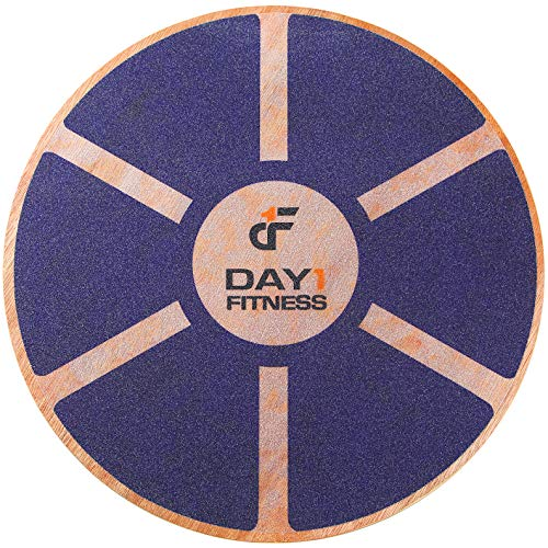 """Day 1 Fitness Balance Board, 15.4"""" – NAVY - 360° Rotation, for Balance, Coordination, Posture - Large, Wooden Wobble Boards with 15° Tilting Angle for Workouts - Premium Core Trainer Equipment"""