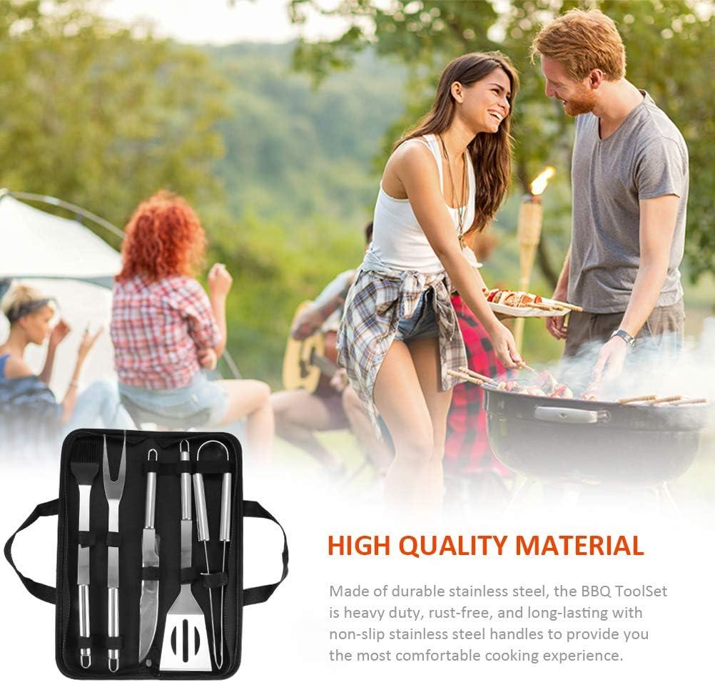 Haplws Ensemble d'outils pour Barbecue Ensemble d'outils pour Barbecue en Acier Inoxydable Sac Oxford Sacs pour ustensiles de grillades Portables Accessoires pour Barbecue 7 Pièces