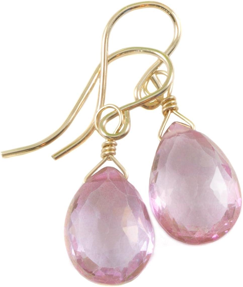 Topaz Industry No. 1 Earrings Seattle Mall Pink Faceted Teardrop Tear D Dangle Dainty Simple