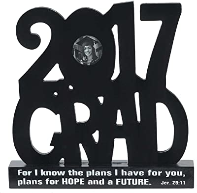Dicksons 2017 Grad Letters Jeremiah 29:11 Black 9.5 inch Wood Word Photo Frame