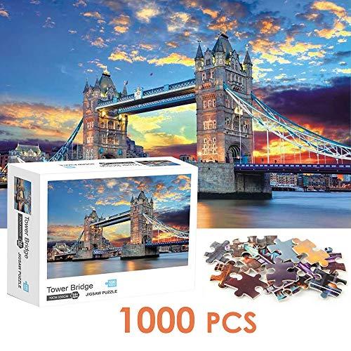 Nasjac Rompecabezas de 1000 Piezas, Tower Bridge Puzzle Paisaje Famoso Rompecabezas de Papel de Paisaje para niños Adultos Adolescentes Familia Educativa Descompresión Intelectual