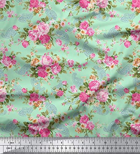 Soimoi Cotton Blumen & Paisley-Druck Schneiderei Stoff 58 Zoll breit durch das Messgerät - Mint Grün