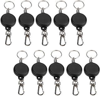 Lot de 5 porte-clés rétractables en fil d'acier avec fermoir anti-perte pour porte-badges d'identité, porte-cartes de 60 cm