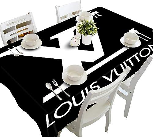 HUANZI Tischdecken Tischtuch 3D SchwarzWeißEn Buchstaben Drucken Tischdecke Moderne Polyester Gedruckt Kunst Tischdecke, Garten Party KüChe Dekor, schwarz, 178cmx274cm