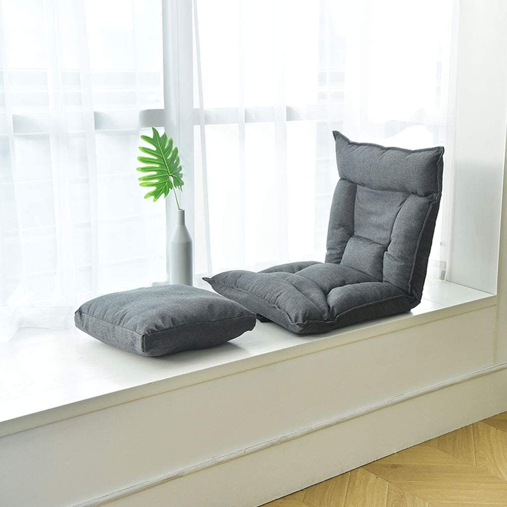 Sedia da Gioco Imbottita Sedia da Meditazione Supporto per Schienale Sedia da Pavimento Pieghevole Divano con Tessuto in Lino di Cotone Regolabile 6 Angoli Soggiorno Tempo Libero