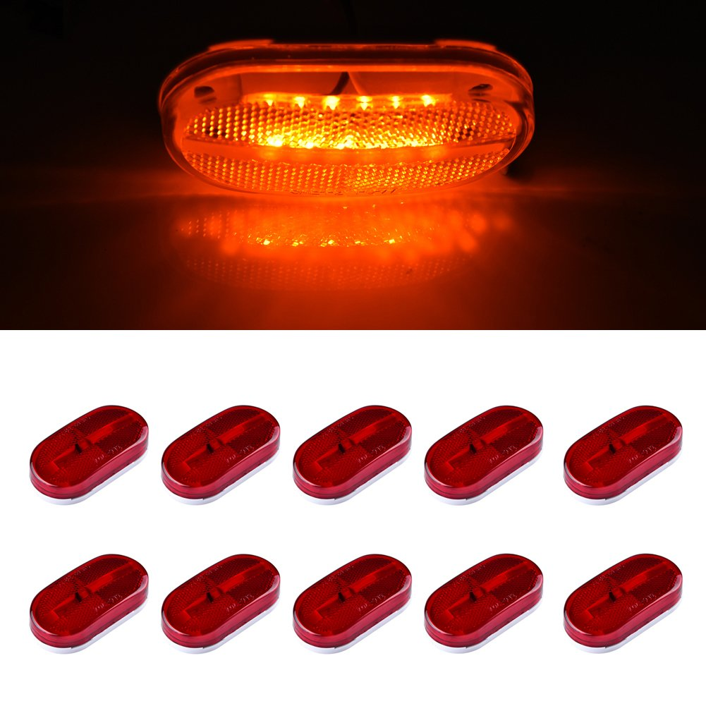 """10 PACK Clear Reflector Clearance Lens Replacement for 4/"""" x 2/"""" Rv Marker Light"""