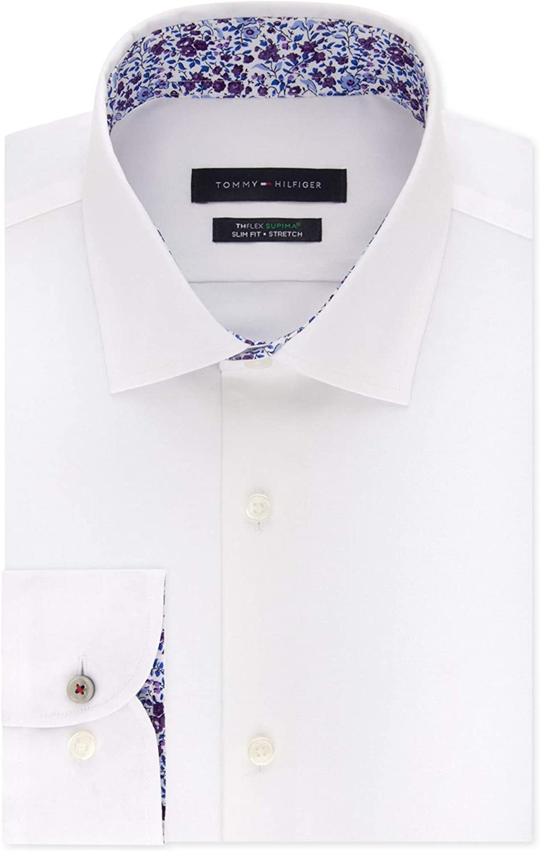 Tommy Hilfiger Mens Supima Button Up Dress Shirt