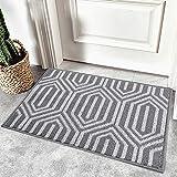 Homaxy rutschfest Fußmatte Waschbar Schmutzfangmatte Fussmatte Aussen Pflegeleichte Sauberlaufmatte Türmatte für Innen & Außen - 50 x 80 cm, Grau