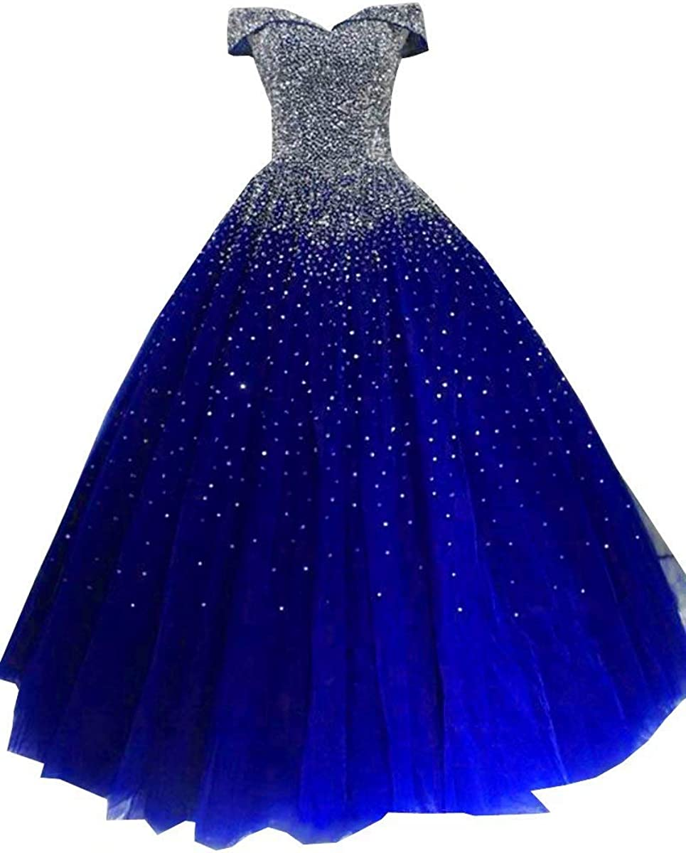 Sliver Sequined Ball Gowns Tulle Long Beaded Off The Shoulder Quinceanera Prom Dresses 2021