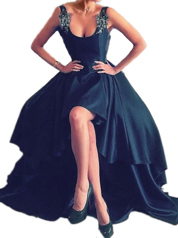 Beilite Women's Straps Prom Dresses HiLo Satin Appliques Evening Party Gown
