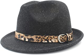 Fashion Sun Hat for Felt Homburg Fedora Jazz Hat for Elegant Lady Cashmere Cap Fedora Jazz Hat with Leopard Belt Size 56-58 Suitable for hot Weather Season (Color : Black, Size : 57-58cm)