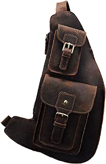 JIAJIA Locomotive American Vintage Oil-immersed Leather Chest Bag, Riding Bag, Saddle Bag, Leather Croissant Bag, Motorcycle Bag, Reasonable Layout, Dark Brown Sports