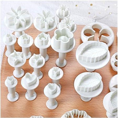 longyisound Juego de moldes para fondant, 33 piezas, moldes para galletas, herramienta de modelado, con flores, mariposas, estrellas, corazón, hojas para tartas, hornear