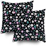 2 fundas de almohada con diseño floral, color blanco, rosa, fondo negro, 45,7 x 45,7 cm, decoración del hogar, fundas de almohada con cremallera para sofá