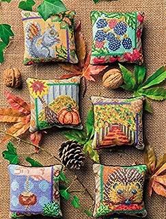 14ct, Egypt cotton thread ,mini counted cross stitch kit, the Autumn, 6 pcs of pincushion cross stitch kits
