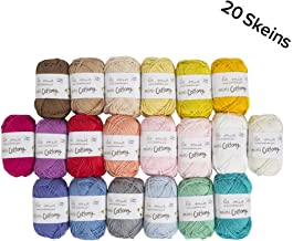 20 Skein %100 Cotton Mini Yarn, Total 17.6 Oz Each 0.88 Oz (25g) / 65 Yrds (60m), Light, Dk, Worsted Assorted Colors Yarn