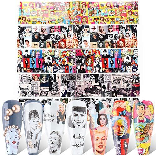 10 Sheets Internet Star Nail Foil Transfer Sticker Marilyn Monroe、Audrey Hepburn、Taylor Alison Swift Nail Art Sticker for Women Kids Girls Foils Transfer DIY Manicure Nail Decorations