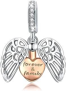 Forever Famiglia Ciondolo compatibile con Pandora Bracelet Necklace Ciondolo con perline con ali di guardiano a cuore aper...