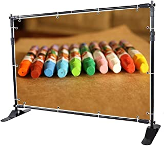 VEVOR 8X 8 Ft Backdrop Banner Stand Newest Step and Repeat for Trade Show Wall Exhibitor Photo Booth Background Adjustable Telescopic Height and Width