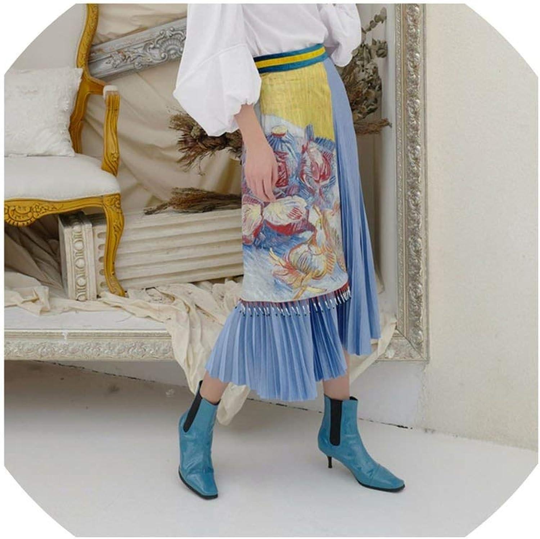 Alerghrg High Waist Patchwork Elastic Bouffancy Floral Print Tassel Sashes Pleated Skirt TA123