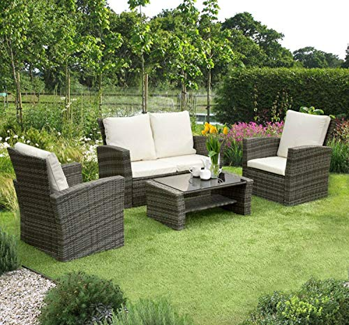 Veggo SCANDI RATTAN GARDEN PATIO FURNITURE 4 PIECE PATIO SET GREY WITH GREY CUSHIONS
