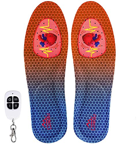 Loowoko Unisex Heated Insoles with Wireless Remote Control Switch & Rechargeable Battery Electric Foot Warmer