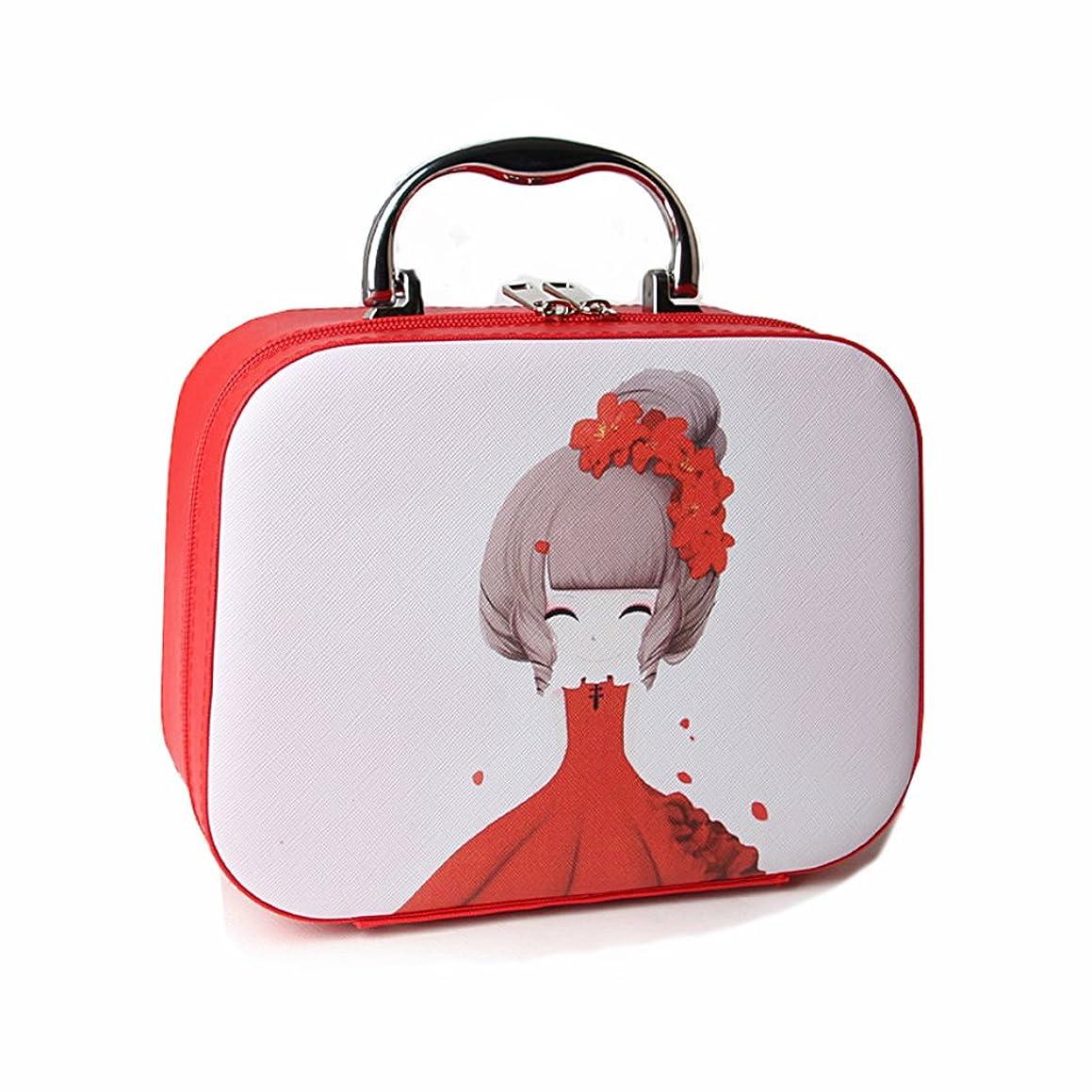 区チェリーエラーメイクボックス コスメボックス コスメBOX 大容量 化粧品 収納ボックス 化粧ポーチ メイクポーチ 携帯便利 かわいい 少女 猫 女性用 女の子 ミラー付き 取っ手付き おしゃれ 鏡付き 機能的 防水 化粧箱