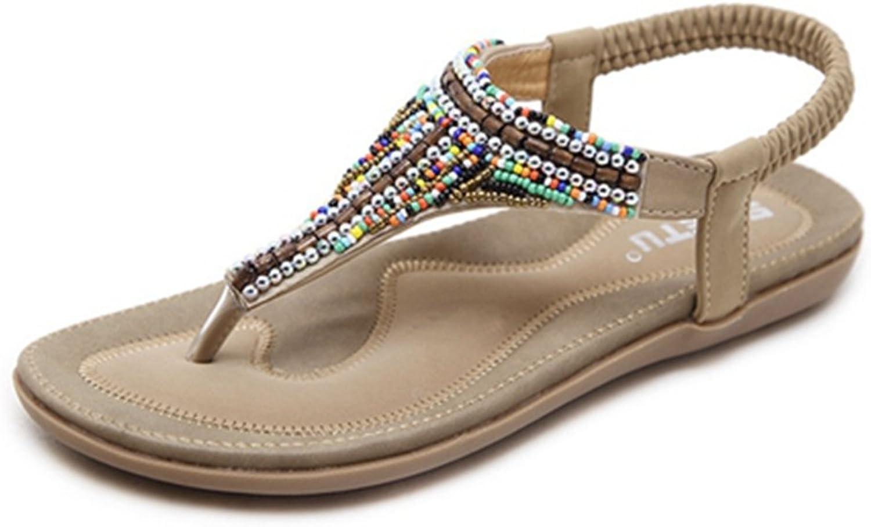 Zarbrina Women's Bohemian Glitter Beaded Wedding Clip Peep-Toe Flip Flops Summer Comfort Elastic Flat Sandals