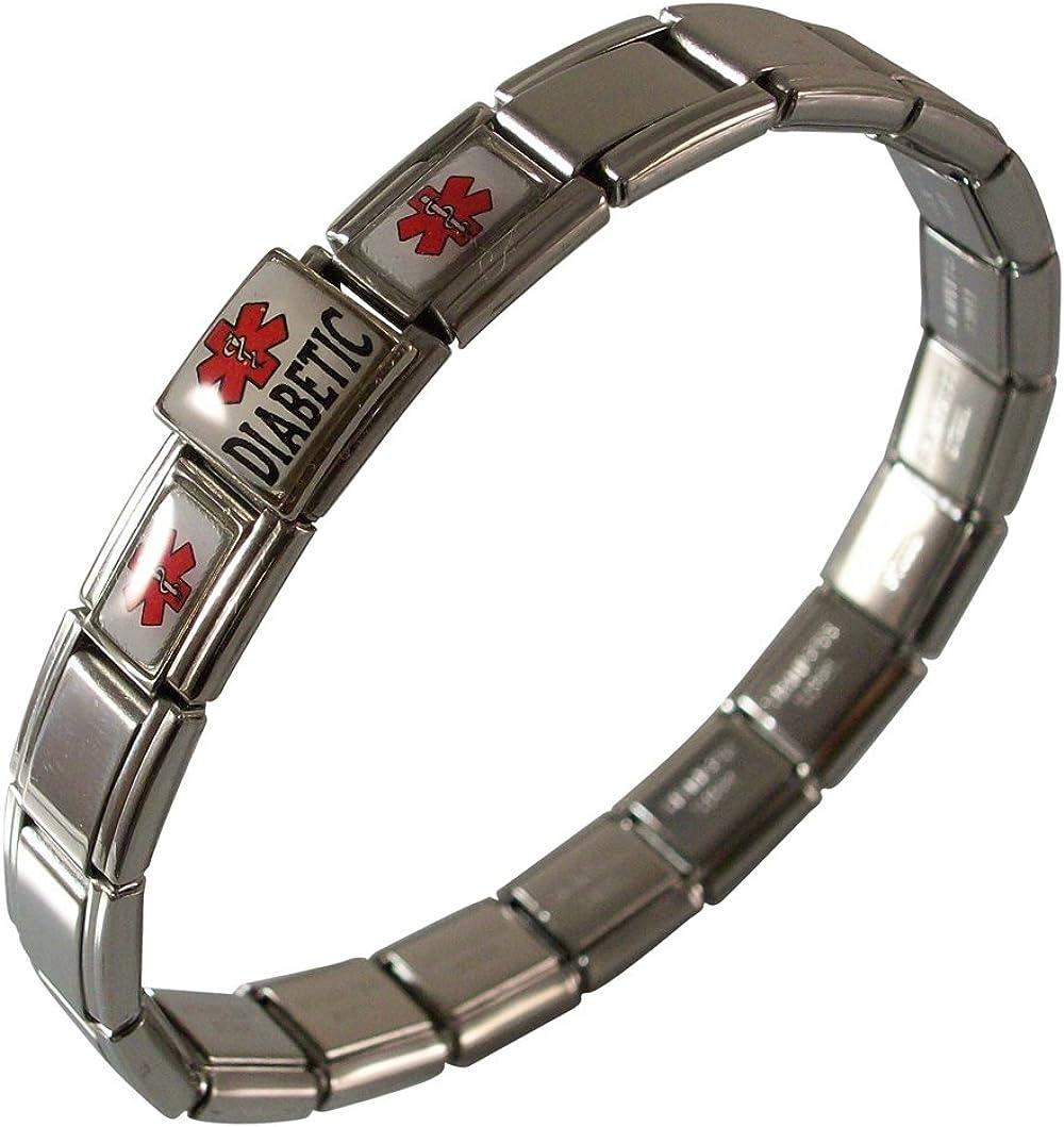 Diabetic Medical Free shipping / New Alert ID Bracelet for or Women Men Stainless Fashion St