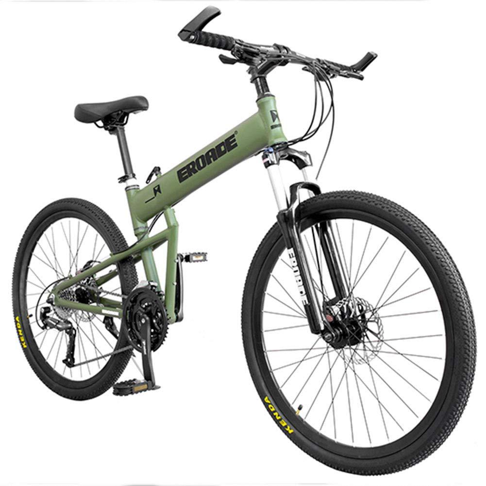 QIMENG Aleación De Aluminio De 24 Pulgadas Llantas,Plegable Bicicleta De Montaña,Bicicletas De Doble Disco De Freno,Cambio De 24/27/30 Velocidades,Adultos Unisex,Verde,24speed: Amazon.es: Hogar