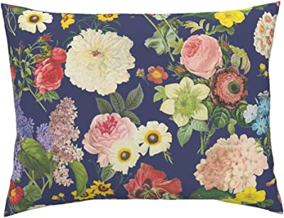 4feff48fa18b Roostery Floral Navy Standard Knife Edge Pillow Sham Blue Botanical French  Floral English Cottage Garden Flowers