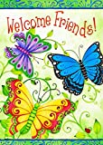 Wamika Welcome Friends Butterfly Spring Garden Flag Double Sided 12x18 inch Decorative Colorful Flower Sunflower Hummingbird Small House Yard Outdoor Flag for Garden Lawn Farmhouse Outside Home Decor