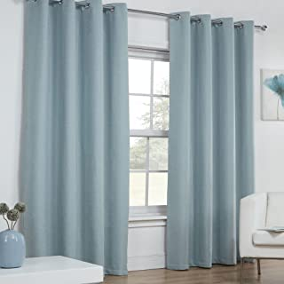 Tony's Textiles Pair of Woven Plain Thermal Solid Linen Look Window Drapes Curtains Eyelet Grommet Top 46