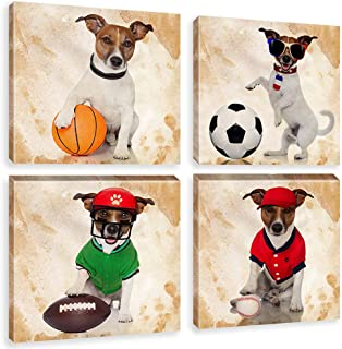 Animals Wall Art Painting on Wrapped Canvas Dogs Play Balls Nursery Baby Room Decor Artwork 4 Pieces Puppy Picture Print for Bedroom Kids Room