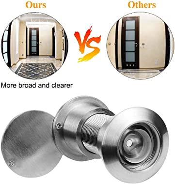GLANICS Door Viewer, 200 Degree 2 Pcs Door Spy Hole, Spy Glass Hole with Heavy Duty Privacy Cover for Home Office Hotel, Pure
