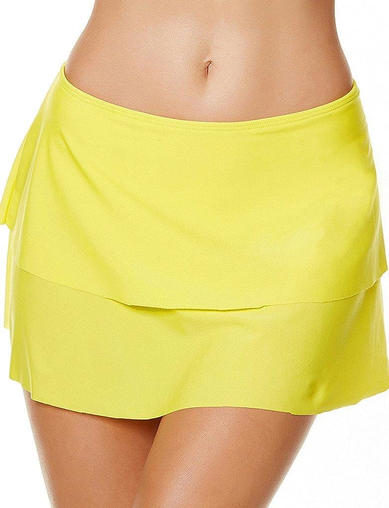 Akaeys Womens Swim Skirt A Line Skirted Bikini Bottom Layered Swimming Skort Tummy Control Plus Size Swimwear