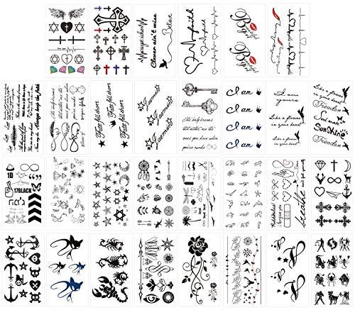 Keleily Temporäre Tätowierungen Schwarz 30 Blatt Temporäre Tattoos Aufkleber Haut Wasserfest für Arme, Beine, Gesicht, Rose, Katze, Stern, Mond, Skorpion, Schmetterling