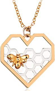 Portonss Dripping Honey Heart Bee Necklace Women Lady Fashion Accessories