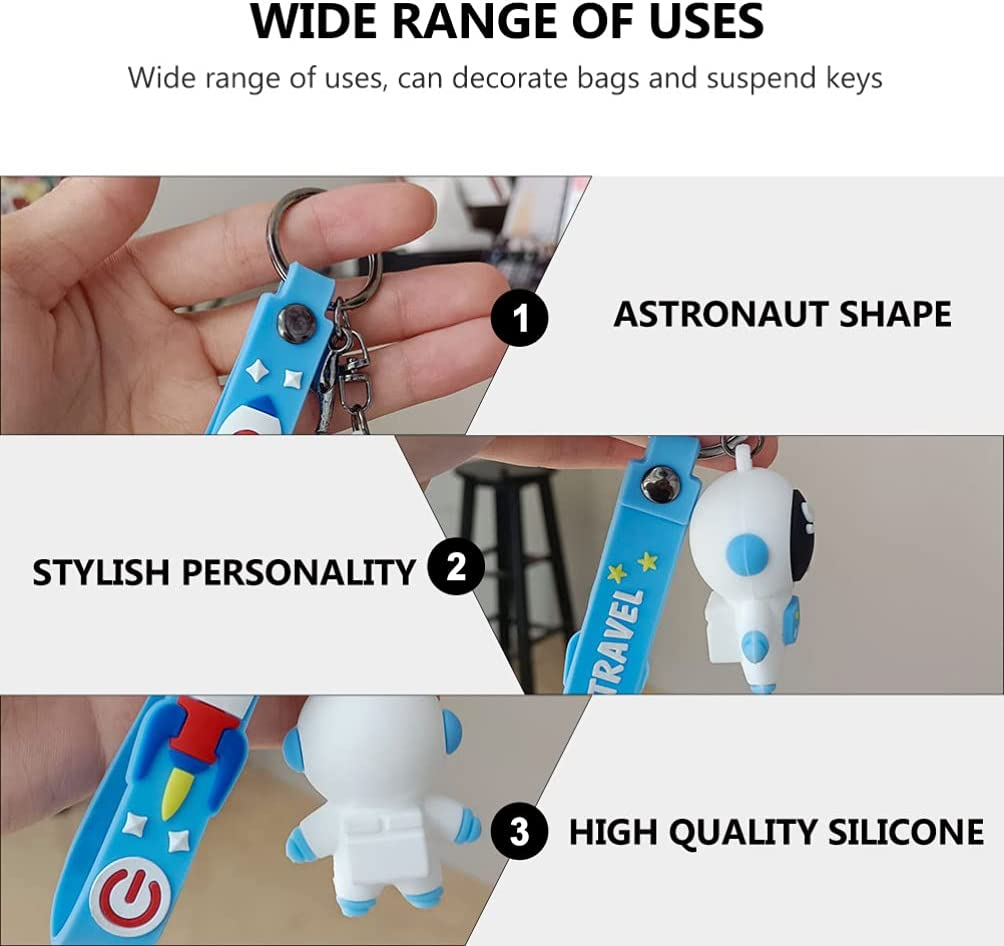 Amosfun 2pcs Astronaut Keychain Space Keyring Spaceman Space Robot Purse Charms Bag Pendant for Kids Birthday Party Favors