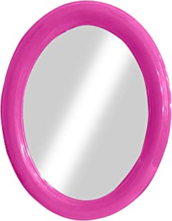 Kabello Oval Wall Mirror for Bathroom Plastics Frame Bedroom And Living Room Home Decor Mirror 30 Grams Pack Of 1 (Pink)