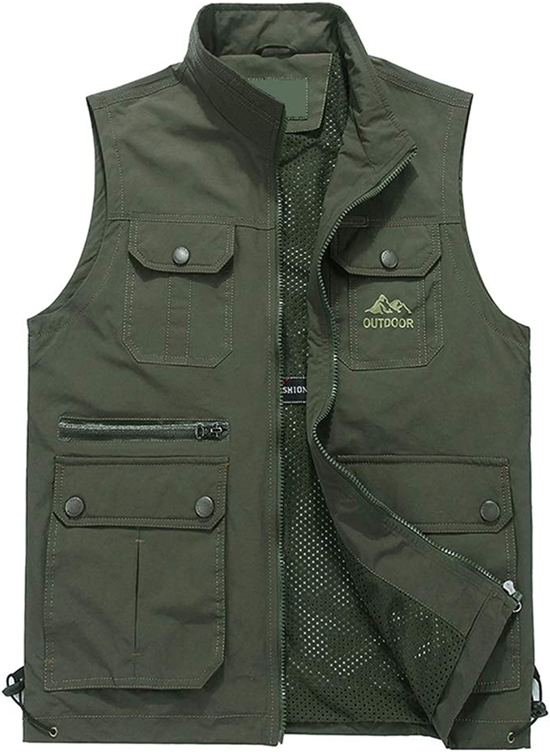 Vest Photography Outdoor Fishing Men's Cotton Shoulder Autumn Loose Large Size Sleeveless Jacket Male Three colors XMJ (color   ArmyGreen, Size   4XL)