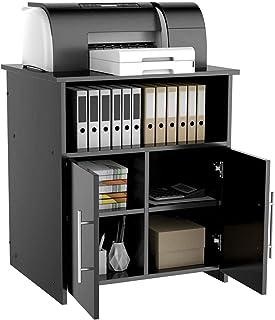 Meuble de rangement en panneaux de particules, support d'imprimante, meuble de rangement en bois blanc, avec étagère de ra...