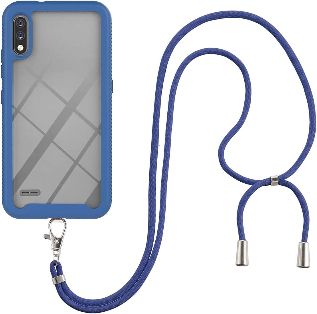 LG K22 Case, Gift_Source Slim Shockproof Crossbody Case 2 in 1 Soft Silicone Bumper and Clear Hard PC Back Cover Shell with Adjustable Lanyard Neck Strap for LG K22 (6.2