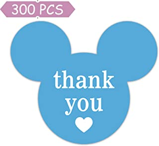 2.25'' x 2'' Mickey Mouse Stickers, Mickey/Minnie Thank You Stickers, Mickey Inspired Mouse Ear Labels Thank You Labels with Heart for Decorations, Parties, Envelope Seals, Gift Tags, 300 Labels/Pack