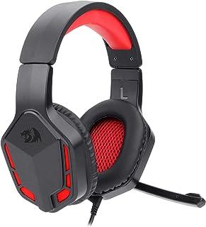 Redragon H220 Themis Auriculares con cable para juegos, sonido envolvente estéreo, cancelación de ruido, auriculares con micrófono, control de volumen, luz LED roja, compatible con PC, PS4/3, Xbox One y Nintendo Switch