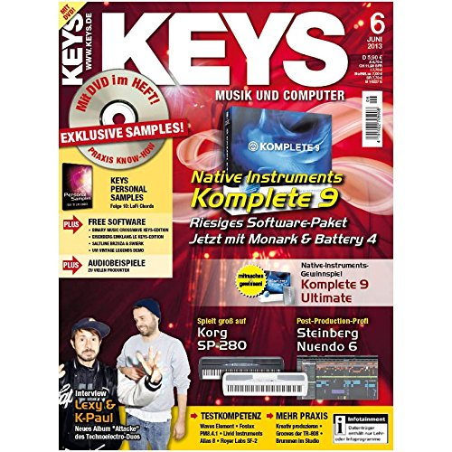Keys 6 2013 mit DVD - Native Instruments Komplete 9 - Software auf DVD - Personal Samples - Free Loops - Audiobeispiele